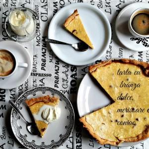 Savoare de week-end. O felie de tartă cu brânză dulce și merișoare în coniac